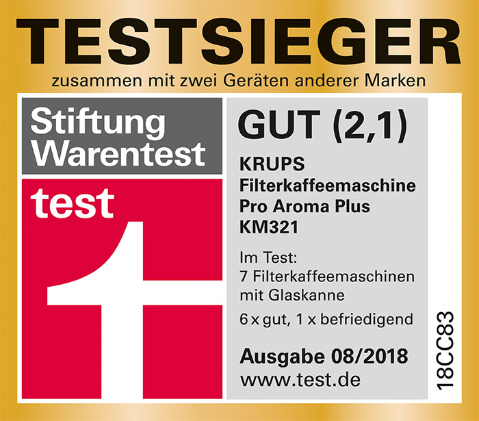 Stiftung Warentest Testsieger 08/2018