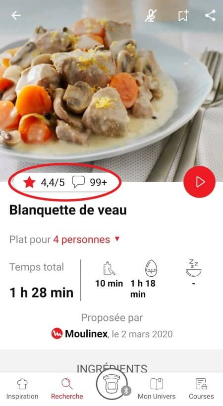 highlighting rating & comments feature from recipe page in the Companion app
