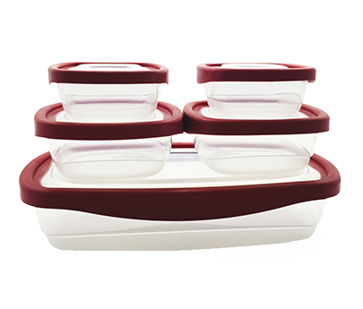 Set of 5 red containers Kiper