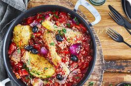 receta arroz a la cazuela con pollo tomate y olivas