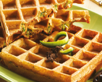 Courgette waffles with tapenade