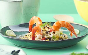 Rice and lentil salad with prawns and orange recipe with Tefal Multicook & Grains