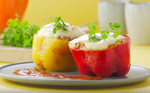 Stuffed peppers with quinoa and mozzarella recipe with Tefal Multicook & Grains